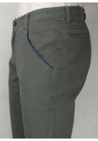 Chiao - Eleganckie Spodnie Męskie, Chinosy - 100% BAWEŁNA, Szare, Ciemny Popiel. Kolor: szary. Materiał: bawełna. Styl: elegancki