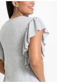 Shirt z rękawami z falbanami bonprix jasnoszary melanż. Kolor: szary. Wzór: melanż
