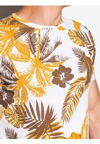 Żółty t-shirt Ombre Clothing z nadrukiem, klasyczny