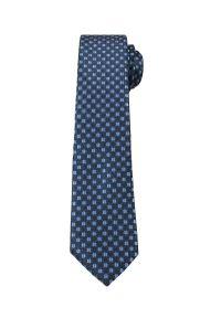 Alties - Granatowy Elegancki Krawat w Niebieskie Grochy -ALTIES- 6 cm, Męski. Kolor: niebieski. Materiał: tkanina. Wzór: grochy. Styl: elegancki