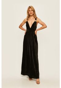 Czarna sukienka Guess Jeans maxi, rozkloszowana, na ramiączkach
