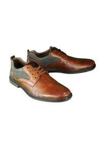 Rieker - RIEKER 13417-24 brown, półbuty męskie. Zapięcie: sznurówki. Kolor: brązowy. Materiał: skóra. Szerokość cholewki: normalna