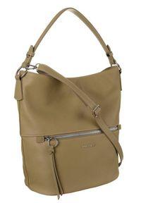 DAVID JONES - Shopper bag khaki David Jones 6518-1 KHAKI. Kolor: brązowy. Materiał: skórzane
