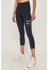 Niebieskie legginsy Tommy Sport sportowe, z nadrukiem