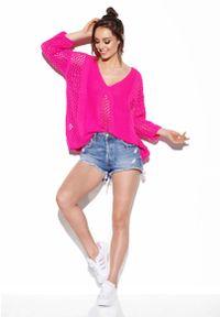 Różowy sweter oversize Lemoniade z podwójnym kołnierzykiem