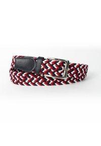Solier - Elegancki pleciony pasek męski SOLIER SB07 black-red-white. Kolor: czarny, biały, czerwony, wielokolorowy. Materiał: materiał. Wzór: kolorowy, paski. Styl: elegancki