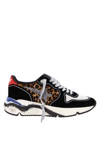 GOLDEN GOOSE - Sneakersy Running Sole. Kolor: brązowy. Materiał: tkanina. Wzór: aplikacja. Obcas: na koturnie. Sport: bieganie