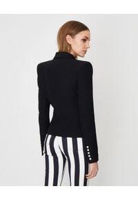 Balmain - BALMAIN - Czarna marynarka z guzikami. Kolor: czarny. Materiał: jeans, materiał. Długość rękawa: długi rękaw. Długość: długie. Styl: elegancki