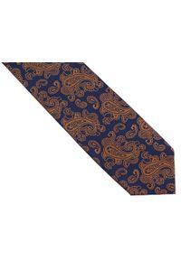 Adam Collection - Granatowy krawat męski w pomarańczowy paisley D254. Kolor: pomarańczowy, niebieski, wielokolorowy. Materiał: tkanina, mikrofibra. Wzór: paisley