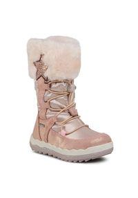 Różowe buty zimowe Primigi z aplikacjami, z cholewką