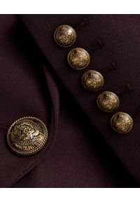Balmain - BALMAIN - Wełniana marynarka z guzikami. Kolor: brązowy. Materiał: wełna. Wzór: aplikacja. Styl: klasyczny