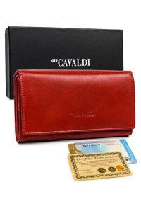 4U CAVALDI - Portfel damski czerwony Cavaldi RD-08-GCL RED. Kolor: czerwony. Materiał: skóra