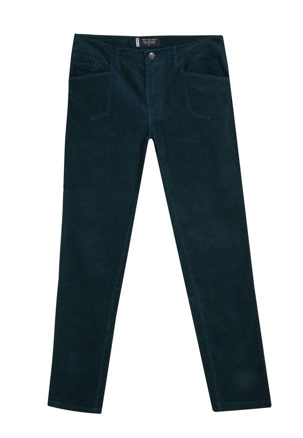 Zielone spodnie TOP SECRET w prążki, na co dzień, casualowe, na jesień