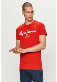 Pepe Jeans - T-shirt Original. Okazja: na co dzień. Kolor: czerwony. Wzór: nadruk. Styl: casual