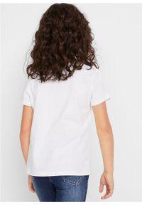 Biała bluzka bonprix z nadrukiem, młodzieżowa