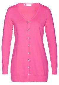 Różowy sweter bonprix długi, elegancki