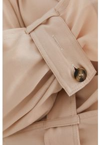 Answear Lab - Płaszcz. Kolor: beżowy. Materiał: tkanina, jedwab, materiał, lyocell. Długość rękawa: raglanowy rękaw. Styl: wakacyjny