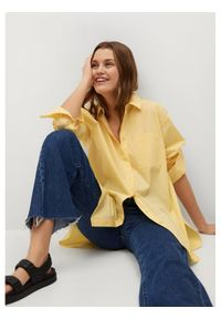 mango - Mango Koszula James 87924026 Żółty Oversize. Kolor: żółty