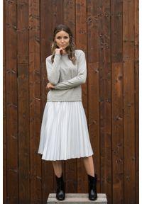VEVA - Szara plisowana spódnica Smooth Spirit. Okazja: do pracy, na co dzień. Kolor: szary. Materiał: jedwab, skóra, materiał. Styl: casual