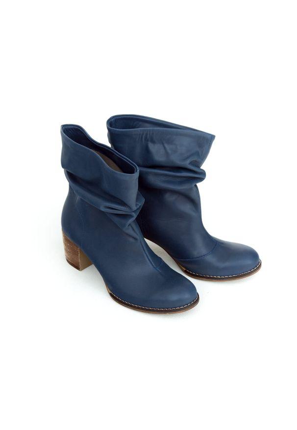 Niebieskie botki Zapato bez zapięcia, do pracy