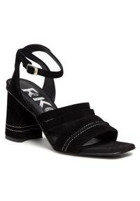Czarne sandały na co dzień, casualowe, na obcasie