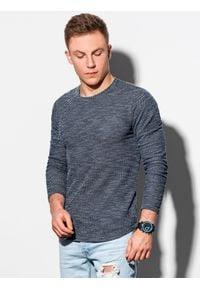 Ombre Clothing - Bluza męska bez kaptura B1182 - granatowa - XXL. Typ kołnierza: bez kaptura. Kolor: niebieski. Materiał: bawełna, dzianina, poliester. Styl: klasyczny