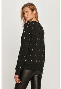 Czarna bluza Karl Lagerfeld z długim rękawem, bez kaptura, długa, z aplikacjami