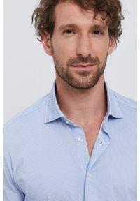 Emanuel Berg - Koszula. Typ kołnierza: kołnierzyk włoski. Kolor: niebieski. Materiał: tkanina