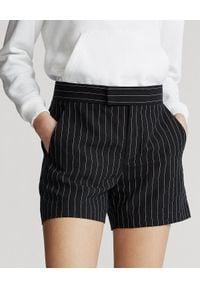 Ralph Lauren - RALPH LAUREN - Lniane szorty w paski. Okazja: do pracy. Stan: podwyższony. Kolor: czarny. Materiał: len. Długość: długie. Wzór: paski. Sezon: lato. Styl: elegancki