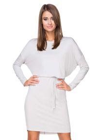Tessita - Jasnoszara Sukienka z Wiązanym Paskiem. Kolor: szary. Materiał: wiskoza, elastan, akryl