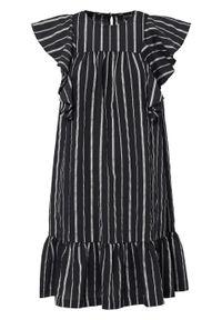 Sukienka z falbanami bonprix czarno-srebrny w paski. Kolor: czarny. Wzór: paski