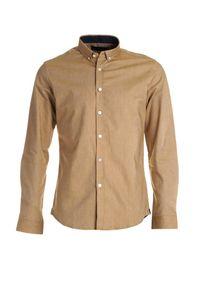 Born2be - Ciemnobeżowa Koszula Keperra. Okazja: do pracy. Typ kołnierza: button down. Kolor: beżowy. Materiał: bawełna, skóra, materiał, jeans. Długość rękawa: długi rękaw. Długość: długie. Wzór: gładki, aplikacja. Styl: klasyczny, elegancki