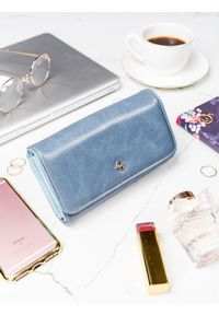 Niebieski portfel MILANO DESIGN w kolorowe wzory