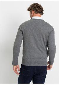 Szary sweter bonprix z dekoltem w serek, melanż