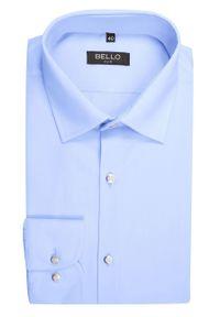 Bello - Koszula Wizytowa, Niebieska z Długim Rękawem, Taliowana, Błękitna -BELLO- Elegancka, Męska. Okazja: do pracy, na spotkanie biznesowe. Kolor: niebieski. Materiał: tkanina, bawełna. Długość rękawa: długi rękaw. Długość: długie. Styl: wizytowy, elegancki