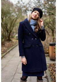 Marie Zélie - Płaszcz wełniany Debora granatowy – flausz. Kolor: niebieski. Materiał: wełna. Wzór: motyw zwierzęcy. Sezon: zima. Styl: klasyczny