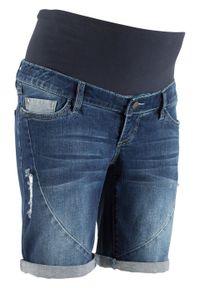 """Szorty dżinsowe na pierwsze miesiące ciąży i okres po porodzie bonprix niebieski """"stone"""". Kolekcja: moda ciążowa. Kolor: niebieski"""