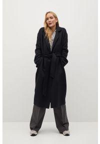 Czarny płaszcz mango gładki, bez kaptura, klasyczny