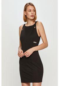 Calvin Klein Jeans - Sukienka. Kolor: czarny. Materiał: dzianina, poliester. Długość rękawa: na ramiączkach. Wzór: gładki. Typ sukienki: dopasowane