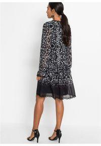 Sukienka tunikowa, długi rękaw bonprix czarno-biały wzorzysty. Kolor: czarny. Materiał: szyfon. Długość rękawa: długi rękaw. Wzór: nadruk. Styl: boho