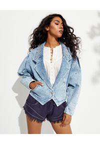ISABEL MARANT - Kurtka jeansowa z dżetami Depaline. Typ kołnierza: kolnierz wykładany. Kolor: niebieski. Materiał: jeans. Długość: długie. Wzór: aplikacja, kolorowy