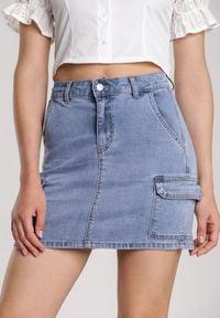 Renee - Niebieska Spódnica Delmafer. Kolor: niebieski. Materiał: jeans. Styl: klasyczny
