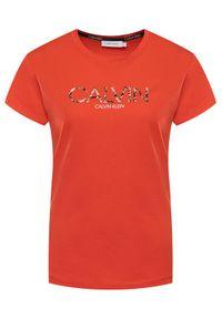 Pomarańczowy t-shirt Calvin Klein z nadrukiem
