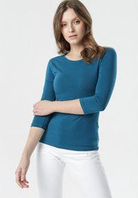 Niebieska bluzka z długim rękawem Born2be