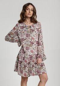 Renee - Kremowa Sukienka Nadavianna. Kolor: beżowy