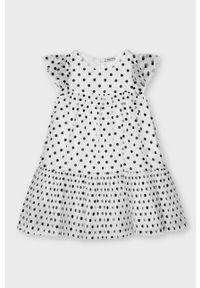 Biała sukienka Mayoral z krótkim rękawem, mini, rozkloszowana