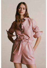 Różowa koszula mango klasyczna, długa