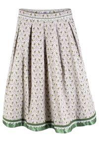 Spódnica w ludowym stylu bonprix matowy srebrny - zieleń paproci wzorzysty. Kolor: szary. Styl: elegancki