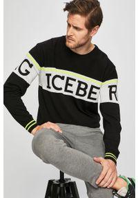 Czarny sweter Iceberg z okrągłym kołnierzem, casualowy, na co dzień