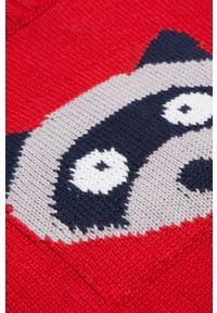Czerwony sweter COCCODRILLO z aplikacjami, krótki